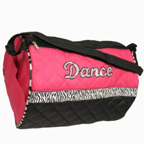 Girls Fuchsia Zebra Stripe Dance Duffle Bag