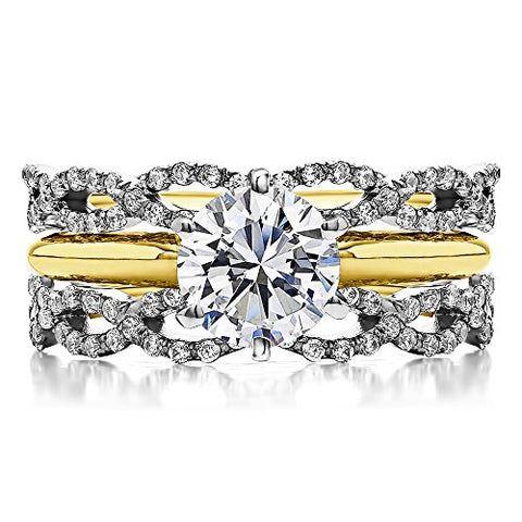 Guard & Solitaire Set,Includes 2 pieces: Guard and 1 Carat CZ Solitaire Size 3 To 15 in 1/4 Size Interval