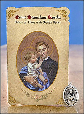 St Stanislaus Kostka Healing Holy Card with Medal