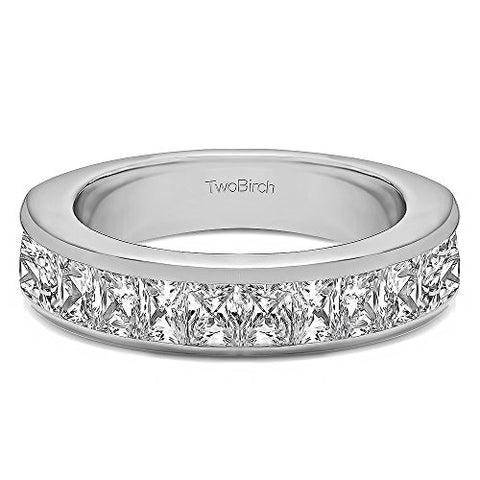 1Ct Channel Set Princess Cut Wedding band in Sterling Silver CZ(Size 3 to 15 in 1/4 Size Intervals)