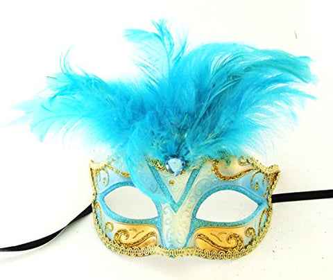 Saigon Blue Feather Mask Venetian Mardi Gras Mask Party Halloween Masquerade Prom