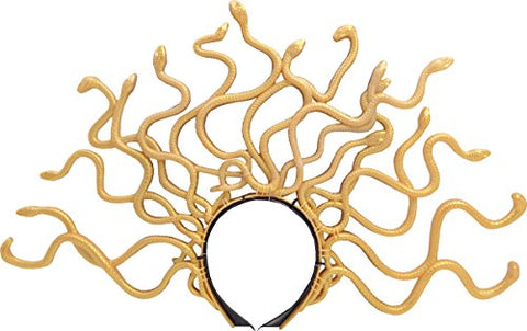Women Halloween Fancy Dress Party Accessory Gold Twisting Snakes Medusa Headband