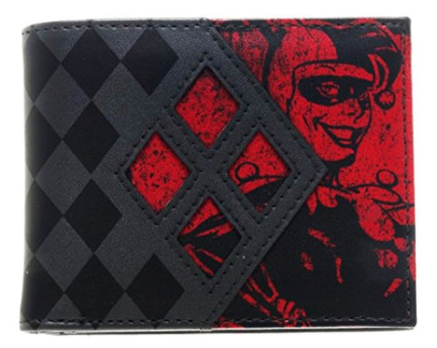 DC Comics HARLEY QUINN Red/Black Logo Bi-Fold WALLET