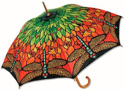Dragonfly Stained Glass Style Stick Canopy Outdoor Umbrella Tiffany Artwork Fashion