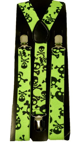Men's Unisex Clip-on Braces Elastic  Green Skull  Suspender Y-shape Ajustable