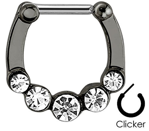 Five Gems Ion Plated 316L Surgical Steel Septum Clicker