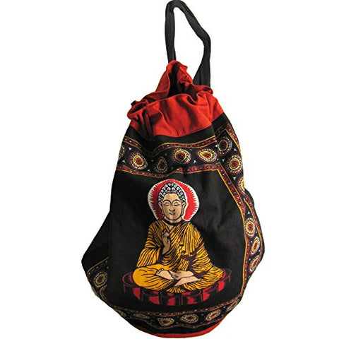 Bohemian Buddha Om Hindu Block Print Sling Bag Backpack Rugged Cinch 20