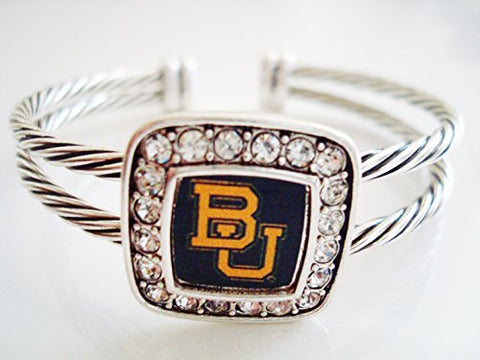 Officially Licensed Baylor Bears  BU  Silvertone Crystal Studded Cable Cuff Bracelet