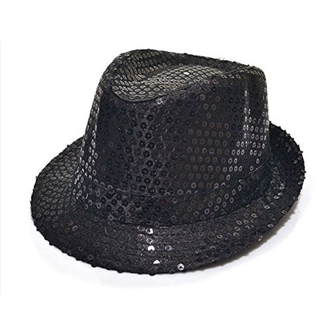 1Pc Black- Sequin Design Paillette Fedora Panama Round Hat for Children Kids