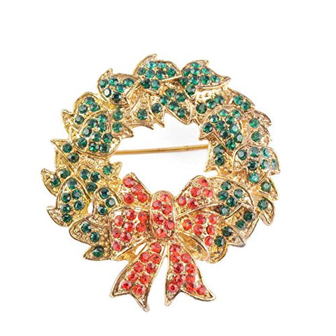 Crystal Christmas Holiday Wreath Leaves Vintage Inspired Handmade with Swarovski Crystal NEW Gift Brooch Pin P1693