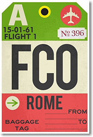 FCO - Rome - Airport Tag - NEW Travel Poster