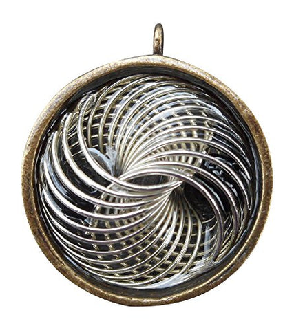 High Power Orgone Pendant - Double Sided Silver Metal Vortex, on black cord