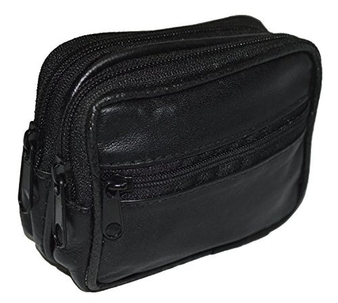 Leatherboss Belt Pouch with Zipper Pockets - Black
