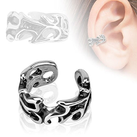 Leaves Design Rhodium Plated Brass Non Piercing Ear Cuff