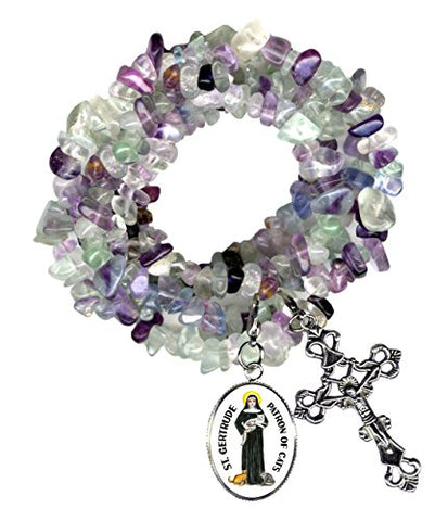 St Gertrude Patron of Cats Charm & Cross Clip Fluorite Gem Wrap Bracelet or Necklace