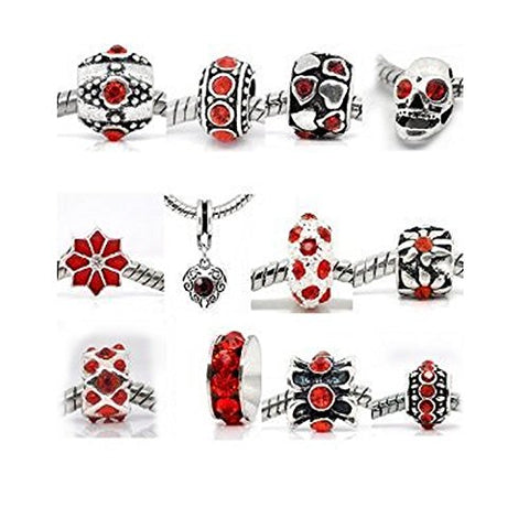 Ten Assorted Shades of Red Rhinestone Bead Charms Spacers for Snake Chain Charm Bracelet
