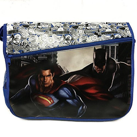 DC Comis Batman vs Superman 16  Large Black Messenger Backpack School Book Bag-BLUE