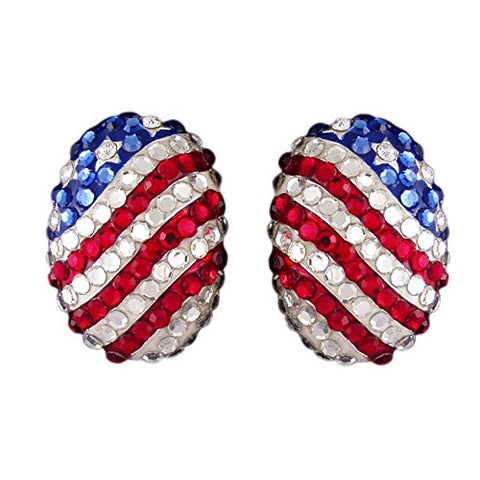 USA Rhinestone Stud Oval Earrings (American Flag Independence Day Patriotic Vintage July 4th Jewelry P2335-E)