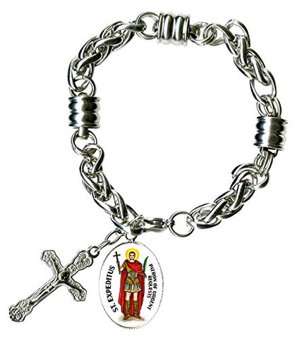 St Expeditus for Urgent Requests Charm & Cross Stainless Steel 7  to 8  Bracelet