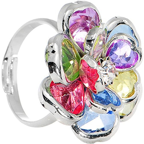 Small Rainbow Faceted Blooming Flower Adjustable Ring