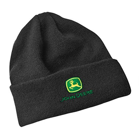 John Deere Fleece Lined Black Knit Hat