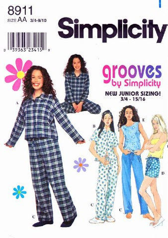 Simplicity Sewing Pattern 8911 Junior Size 3/4-9/10 Pajamas Pants Shorts Shirt Tank Top Camisole