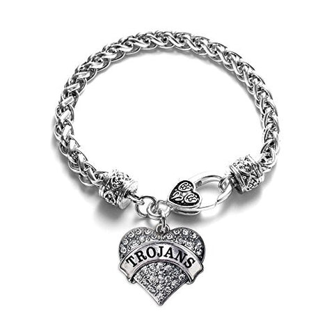 Trojans School Mascot Pave Heart Charm Bracelet Silver Plated Lobster Clasp Clear Crystal Charm