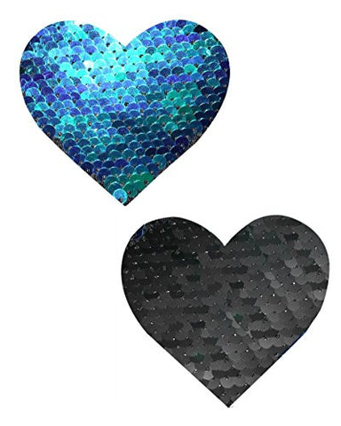 Blue and Black Reversible Sequin Heart Rave Pasties
