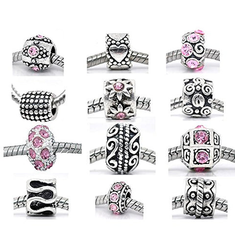 Ten (10) Metal & Pink Rhinestone Assorted Colors and Patterns Beads Charm