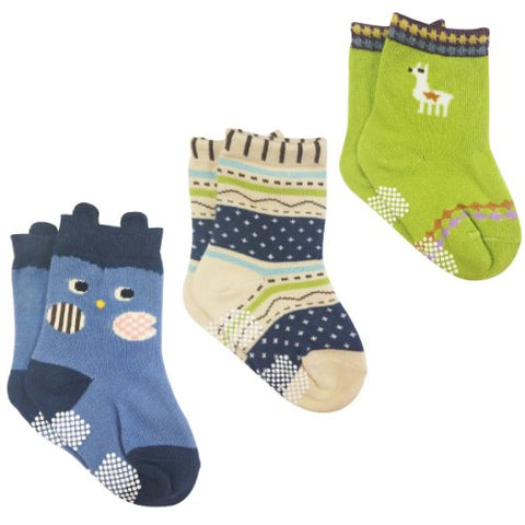 Wrapables Peek A Boo Animal Non-Skid Toddler Socks (Set of 3), Owl Large