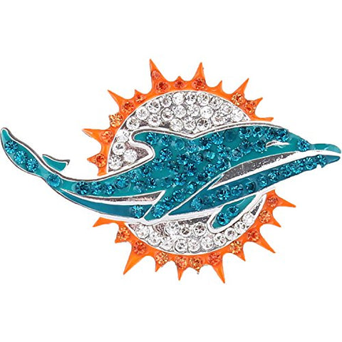 Miami Dolphins Crystal Logo Brooch Pin