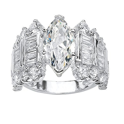 Marquise-Cut White Cubic Zirconia .925 Sterling Silver Engagement Anniversary Ring