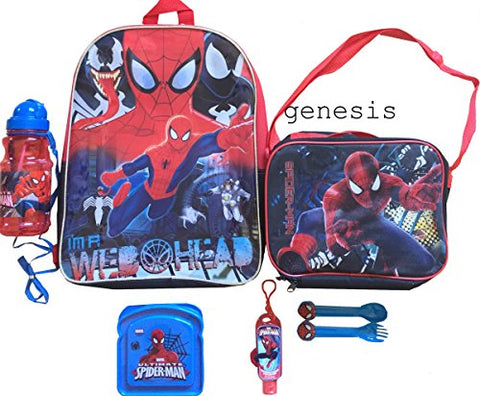 Spiderman 7 Pc Lunch Kit Backpack & Lunch Bag With Bottle & Sandwich, Utensils & Hand Sanitizer