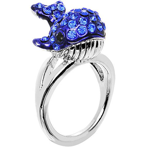 Size 7 Blue Paved Splashing Whale Ring