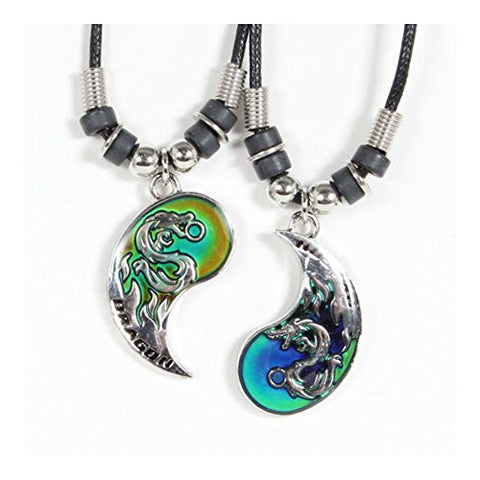 BEST FRIEND Mood Dragon Yin Yang 2 Pendants Necklace Set BFF Friendship