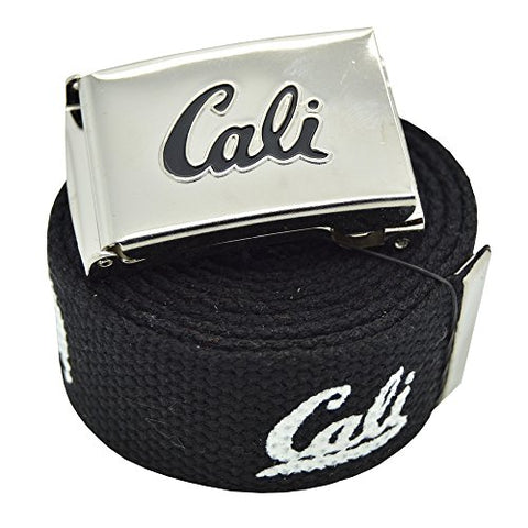 Canvas Military Black  Cali  California Republic Web Belt & Flip Buckle 60 inches