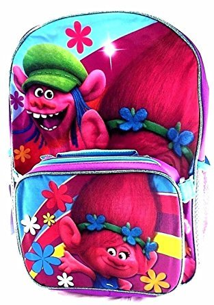 Dreamworks Trolls Poppy & Copper 16  Canvas Backpack w/Detachable Lunch Bag