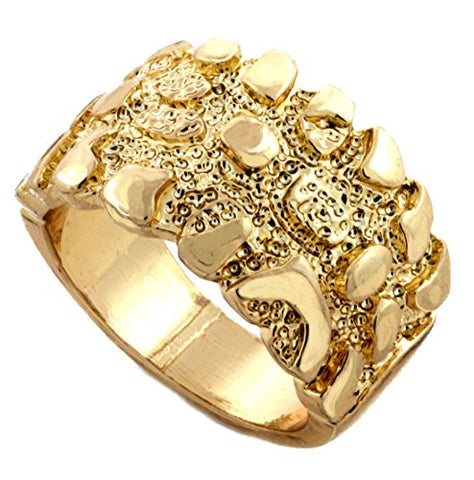 Mens Gold Tone Full Metal Nugget Ring Size 8