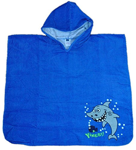 Yikes Shark HOODIE Poncho Towel SWIMMING COVER UP BEACH POOL BATHROBE 100% COTTON