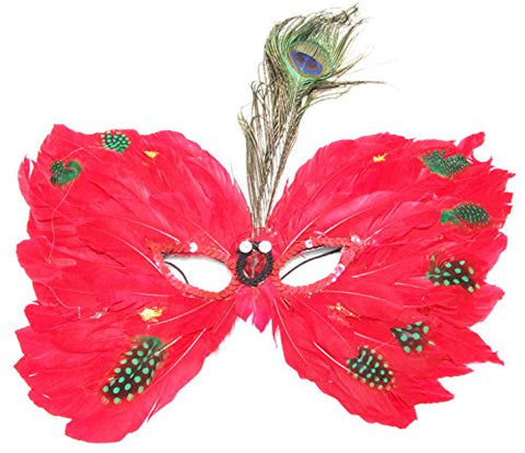 Red Feather Butterly Venetian Mask Masquerade Halloween Costume Teen Prom