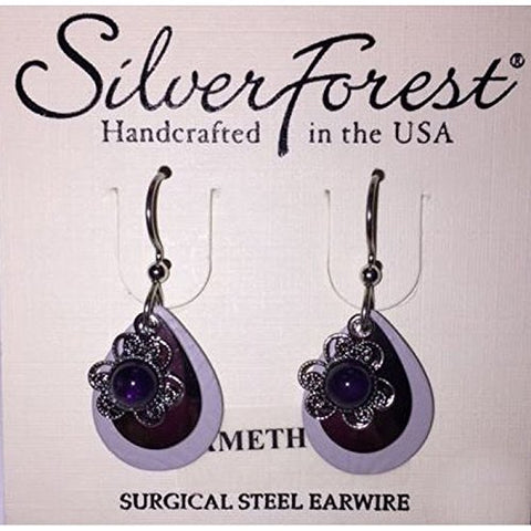 Silver Forest Surgical Steel Amethyst Flower Earrings Dangles E-9925