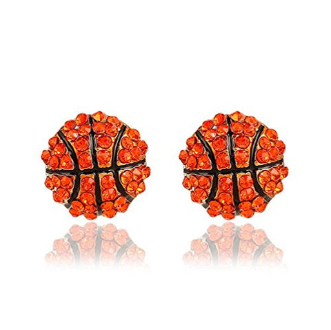 Winter's Secret Red Fashion Competitive Match Sports Basketball Shape Diamond Accented Stud Earring