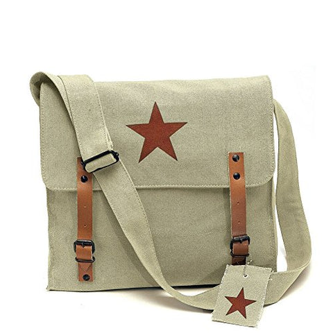 Khaki Vintage Army Medic Shoulder Messenger Bag w/ Brown Star Emblem