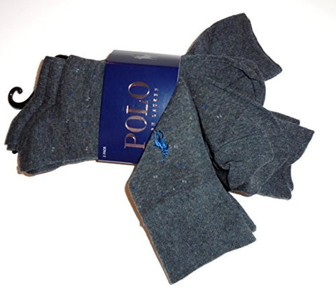 POLO Ralph Lauren Smooth Combed Cotton & Ribbed Crew Cut Dress Socks-3 Pairs