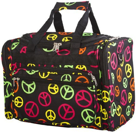 World Traveler Multicolor Peace Sign Duffle Bag 16-inch
