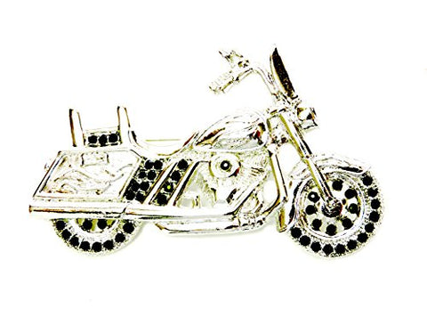 Faship Motorcycle Pin Brooch Gorgeous Black Crystal
