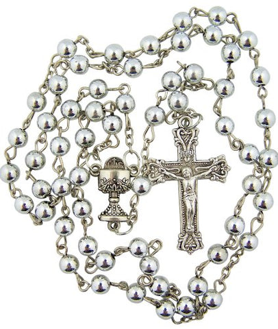 Silver Tone Moulded 6MM Bead with IHS Chalice Center First Communion Rosary