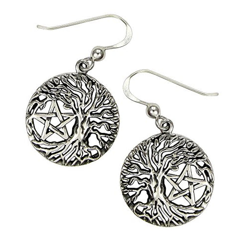 Sterling Silver Tree of Life Yggdrasil Pentacle Pentagram Earrings