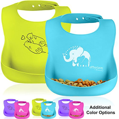 otterlove Waterproof Silicone Bib by Platinumpure, Baby Bibs 100% Pure Platinum LFGB Silicone, No Fillers/BPAS, Phthalates, Voc's, Organic Baby Safe with Food Catcher Pocket, Set of 2