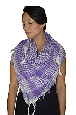 Shemagh Scarf Shawl Arab Fashion Scarf Purple Freedom Head Cover Purple & White